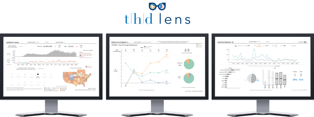 Figure 2. The above image shows several different views that are available to users through the THD lens suite of interactive, business intelligence dashboards.